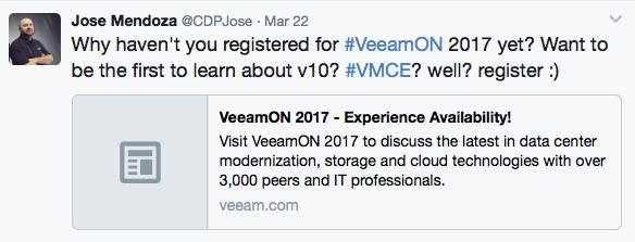 Jose Mendoza Veeam Twitter Influencer