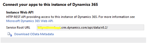 Connect to this instance of Dynamics 365