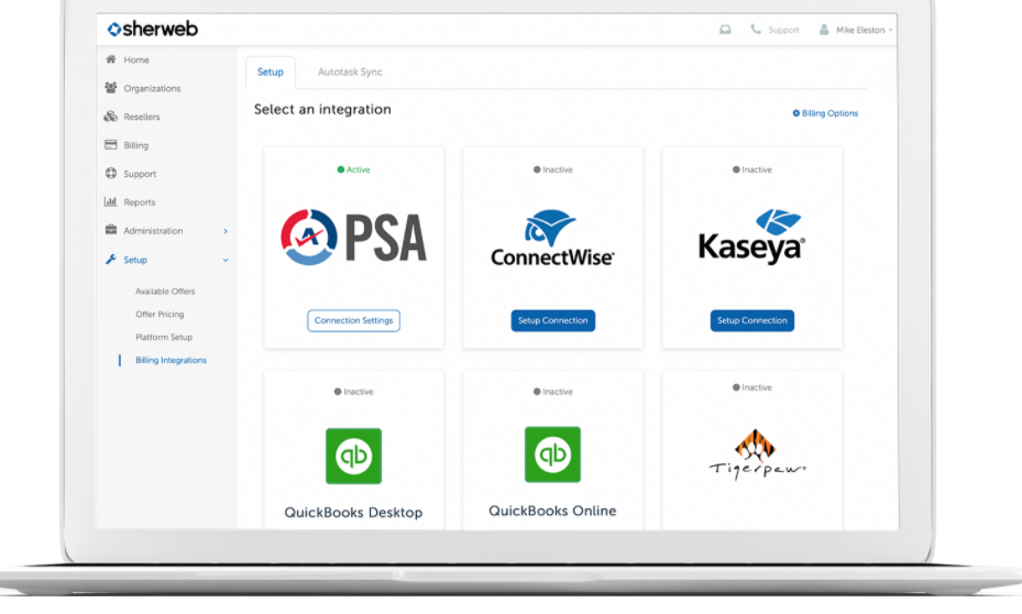Sherweb integrations and PSA tools