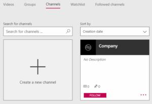 Microsoft Stream Channels