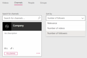 Stream channels search