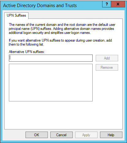adding user principal name at the organizational unit level