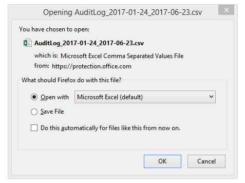 Exporting Audit Log Entries-Step 3