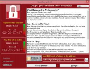 WannaCry Ransomware Attack alert