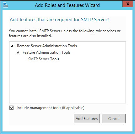 Select features for SMTP server