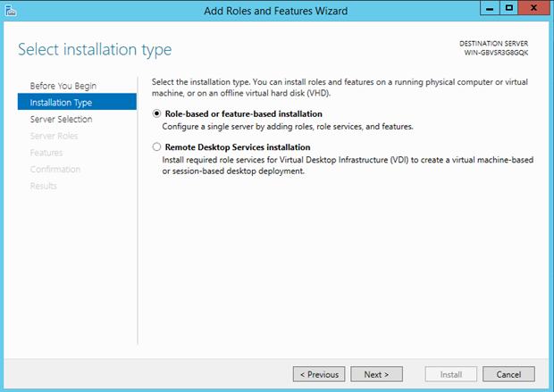 Select the installation type