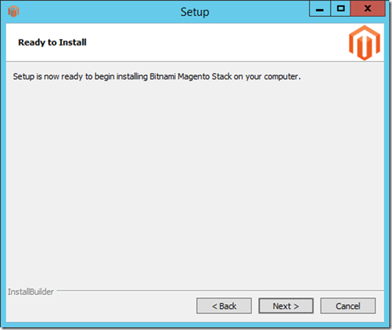 Setup will now install Magento