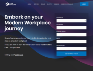 clearconcepts landing page