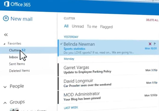 clutter email outlook - new features of Office 2016