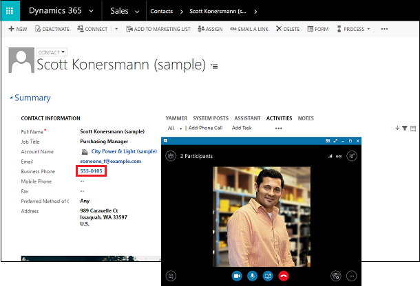 Dynamics 365 and SKype for Business Integration