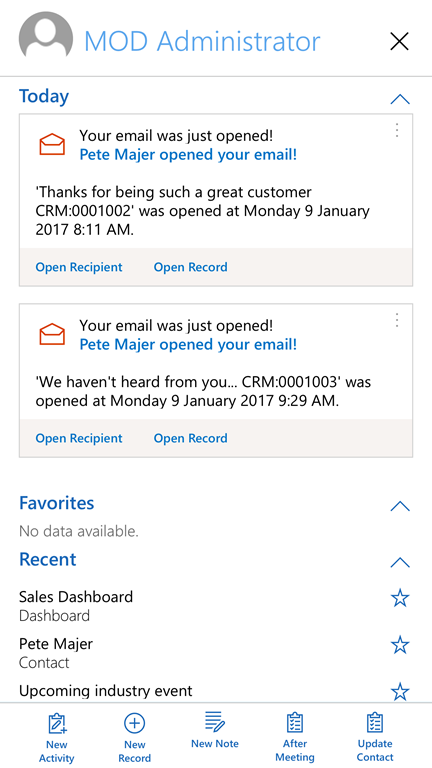 Track open email in Dynamics 365