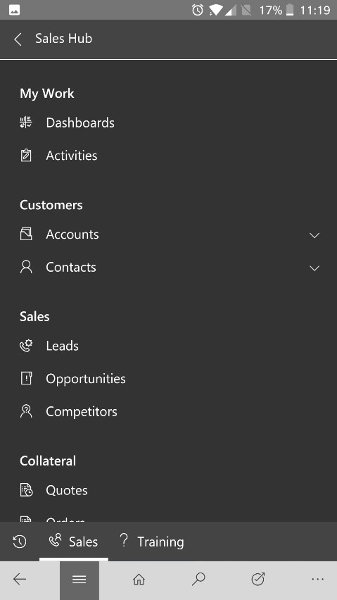 Increase Productivity with Dynamics 365 Mobile navigate the app