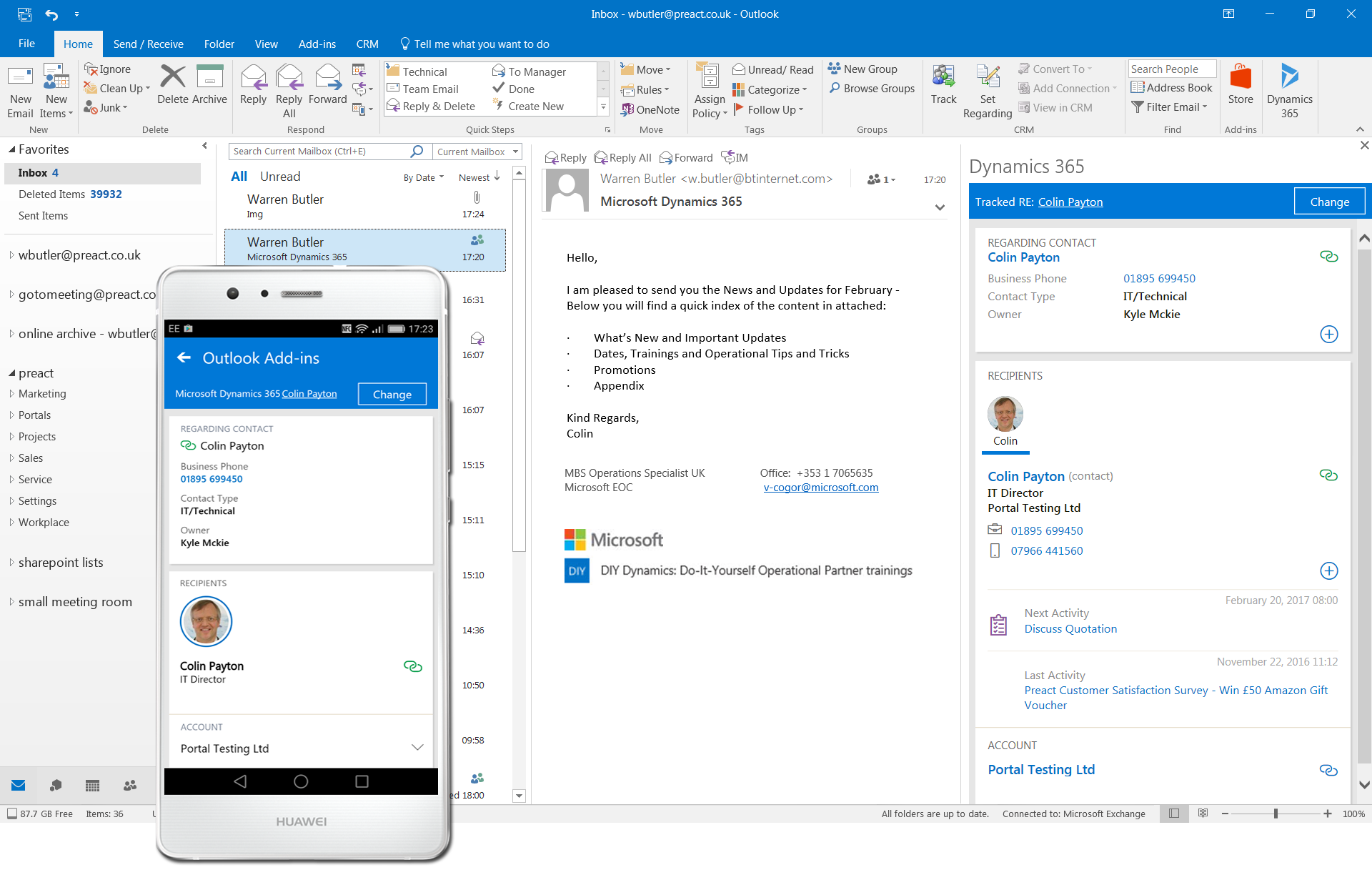 Outlook integration microsoft dynamics crm crmcorp.