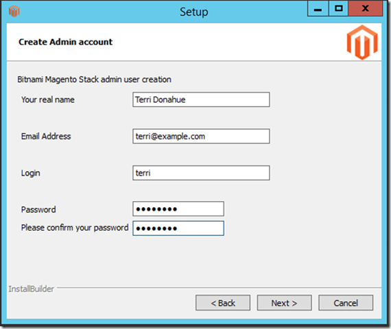 Create admin account for Magento