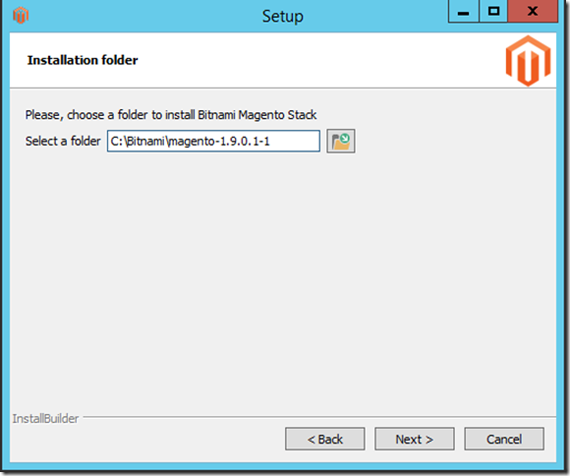 Choose folder to install Magento