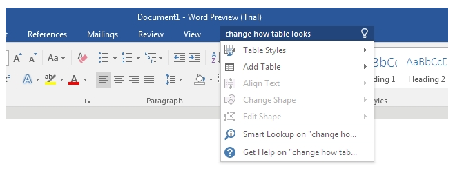 tell me box - new features of Office 2016